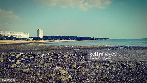 scenic view of sea against sky - southampton england stock pictures, royalty-free photos & images