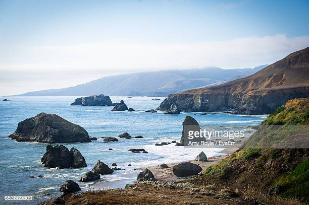 scenic view of sea against sky - sonoma county stock pictures, royalty-free photos & images