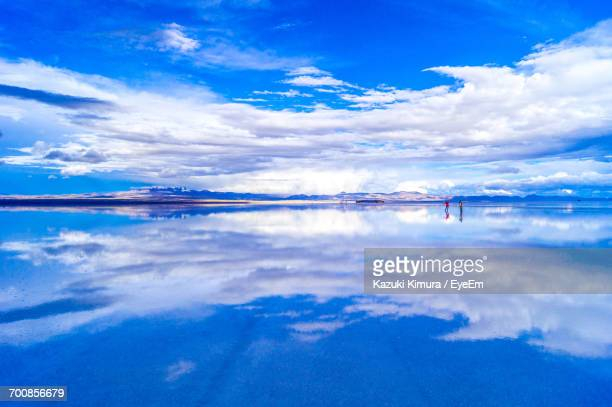scenic view of sea against sky - salt flat stock pictures, royalty-free photos & images