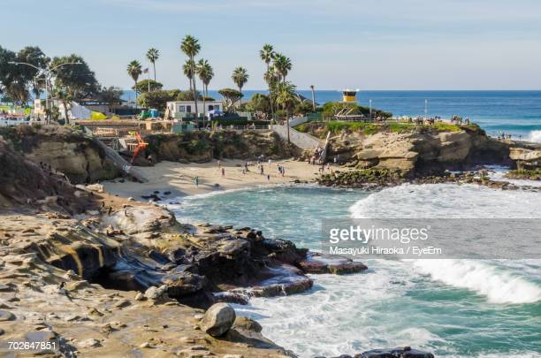 scenic view of sea against sky - la jolla stock pictures, royalty-free photos & images