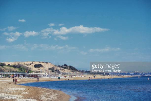 scenic view of sea against sky - belek stock pictures, royalty-free photos & images