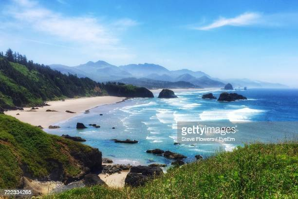 scenic view of sea against sky - oregon coast stock pictures, royalty-free photos & images
