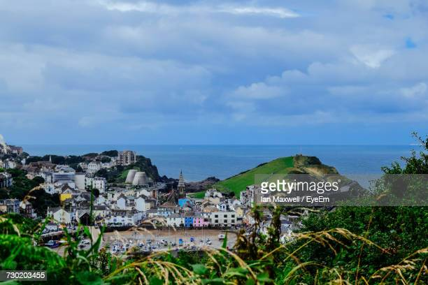 scenic view of sea against sky - ilfracombe stock photos and pictures