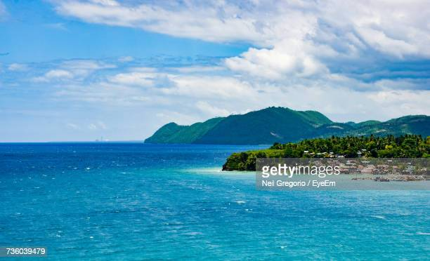 scenic view of sea against sky - cebu stock photos and pictures
