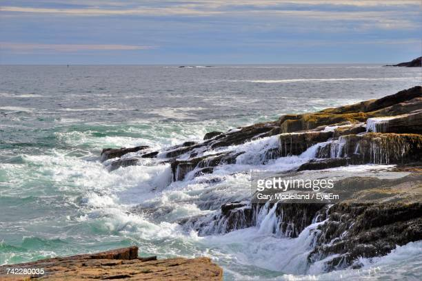 scenic view of sea against sky - bar harbor stock photos and pictures