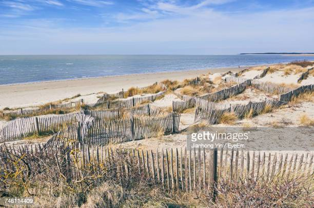 scenic view of sea against sky - le touquet paris plage stock pictures, royalty-free photos & images