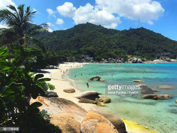 scenic view of sea against sky - ko samui stock photos and pictures