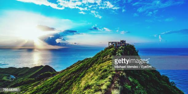 scenic view of sea against sky - oahu stock pictures, royalty-free photos & images