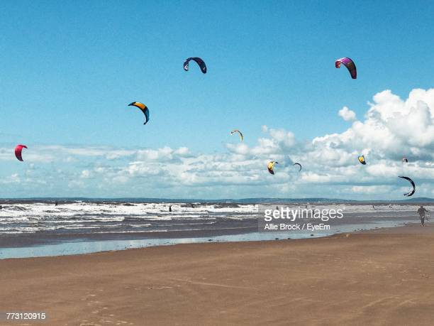 scenic view of sea against sky - porthcawl stock pictures, royalty-free photos & images