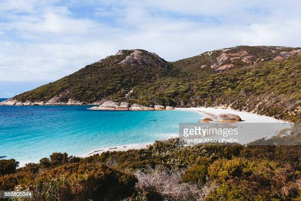 scenic view of sea against sky - western australia stock photos and pictures