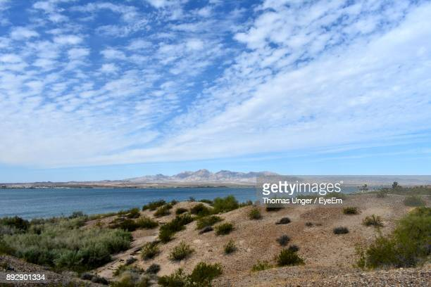 scenic view of sea against sky - lake havasu stock photos and pictures