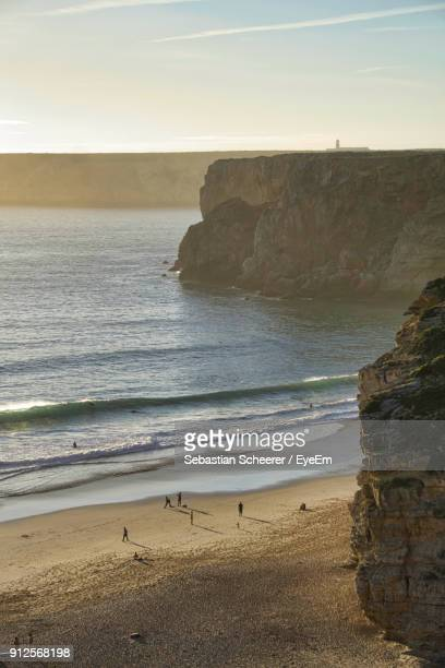 scenic view of sea against sky - sagres stock pictures, royalty-free photos & images