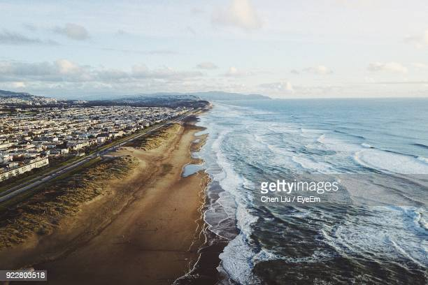 scenic view of sea against sky - san mateo county stock pictures, royalty-free photos & images