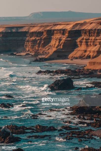 scenic view of sea against sky - antofagasta region stock photos and pictures