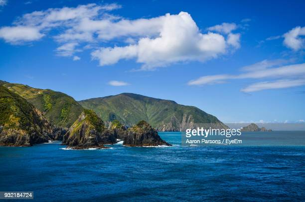 scenic view of sea against sky - wellington new zealand stock photos and pictures