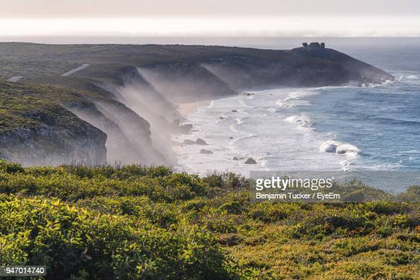 scenic view of sea against sky - kangaroo island stock photos and pictures