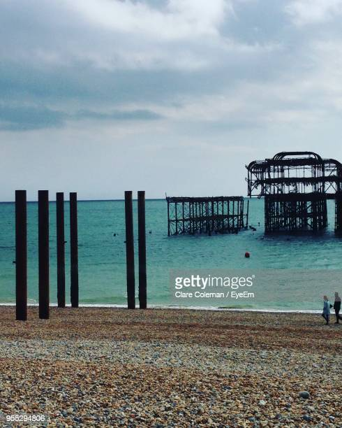 scenic view of sea against sky - brighton england stock pictures, royalty-free photos & images