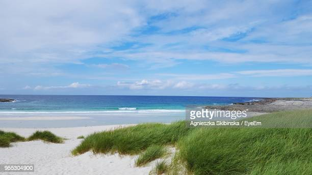 scenic view of sea against sky - barra scotland stock pictures, royalty-free photos & images