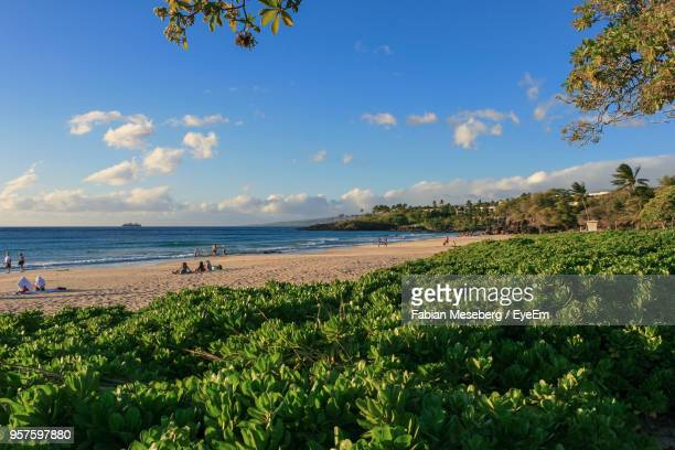 scenic view of sea against sky - hapuna beach stock photos and pictures