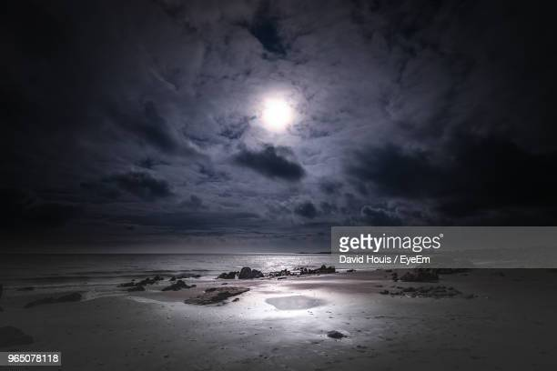 scenic view of sea against sky - moonlight stock pictures, royalty-free photos & images