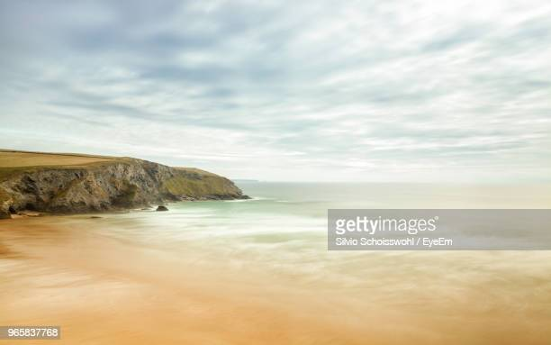 scenic view of sea against sky - newquay stock pictures, royalty-free photos & images