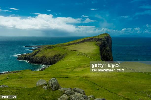 scenic view of sea against sky - peninsula stock pictures, royalty-free photos & images