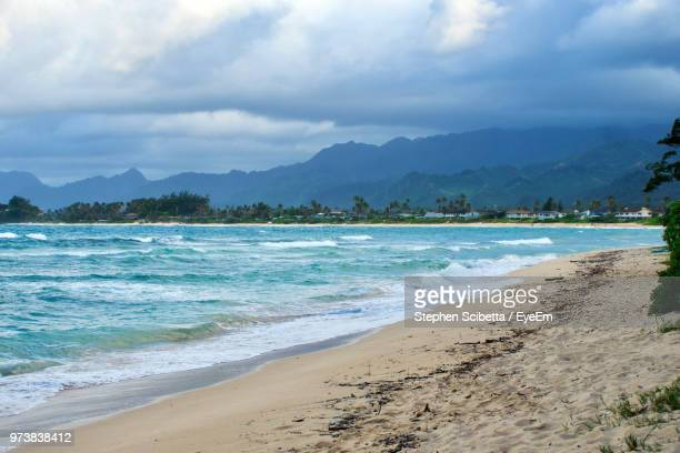scenic view of sea against sky - north shore stock photos and pictures