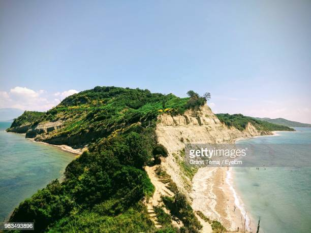 scenic view of sea against sky - albania stock pictures, royalty-free photos & images