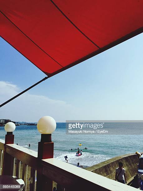Scenic View Of Sea Against Sky Seen From Balcony