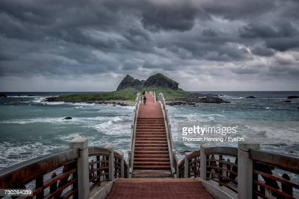 scenic view of sea against storm clouds - hualien county stock pictures, royalty-free photos & images