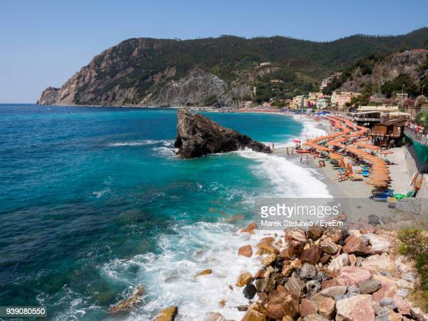 scenic view of sea and beach against clear blue sky - marek stefunko stock pictures, royalty-free photos & images