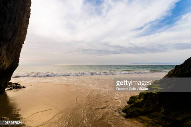 scenic view of sea and beach from cave - cabo verde imagens e fotografias de stock