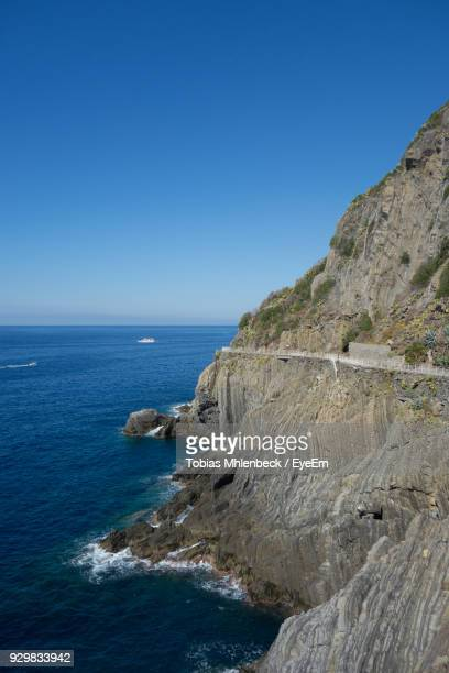 Scenic View Of Sea And Clear Blue Sky