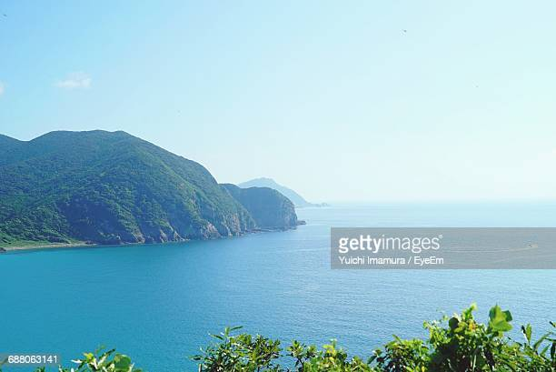 Scenic View Of Sea And Mountain Against Sky At Goto Islands