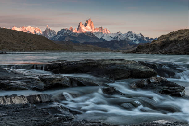 Scenic view of sea and mountains against sky during sunset,El Chalten,Santa Cruz,Argentina