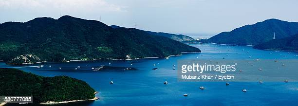 scenic view of sea and mountains against sky - fukui prefecture - fotografias e filmes do acervo