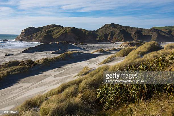 scenic view of sea and mountains against sky - nelson city new zealand stock pictures, royalty-free photos & images