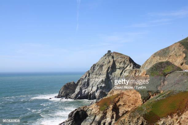scenic view of sea and mountains against sky - san jose california stock pictures, royalty-free photos & images