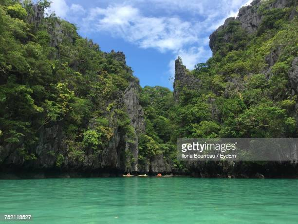 scenic view of sea and mountains - el nido stock pictures, royalty-free photos & images