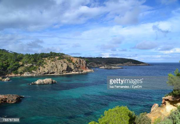 Scenic View Of Sea And Rock Formation