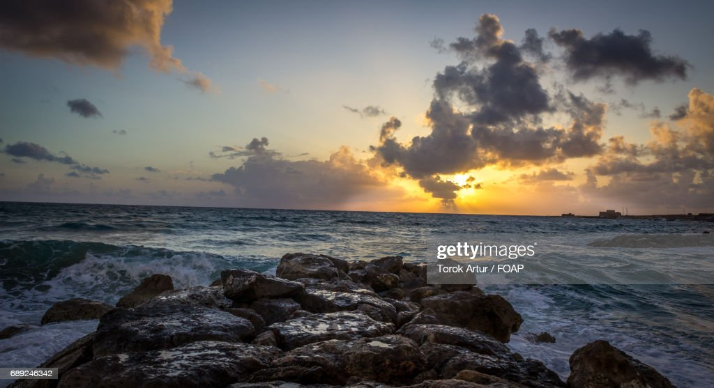 Scenic view of sea at sunset : Stock Photo