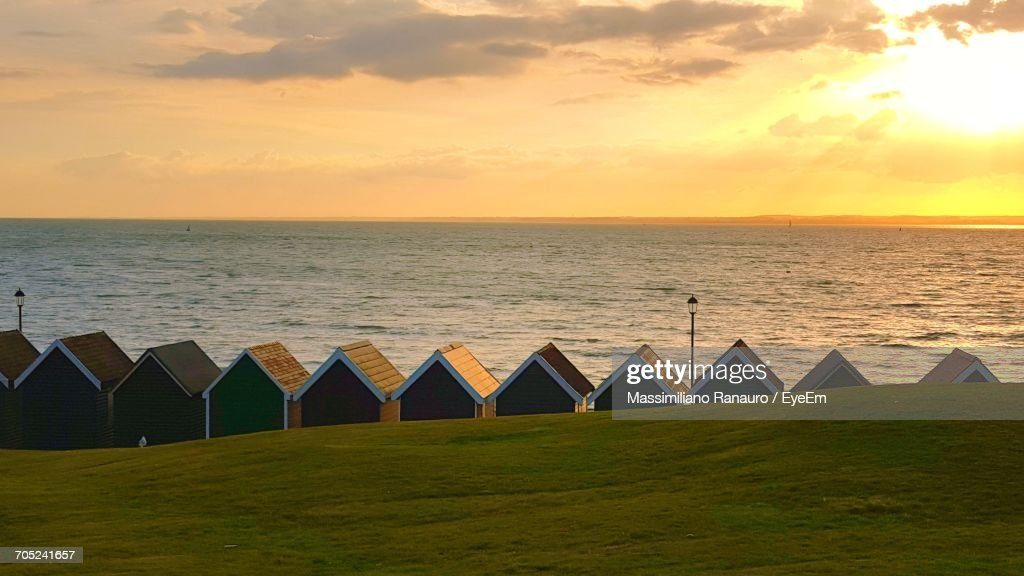Scenic View Of Sea At Sunset : Stock-Foto