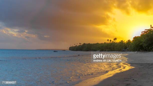 scenic view of sea at sunset - apia stock photos and pictures