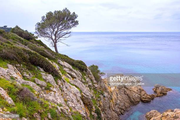 Scenic View Of Sea By Cliff Against Sky