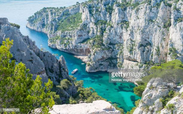 scenic view of sea by cliff - marseille photos et images de collection