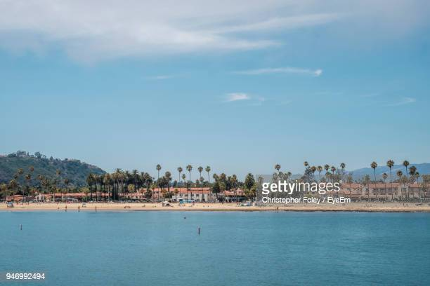 scenic view of sea by town against sky - santa barbara stock photos and pictures