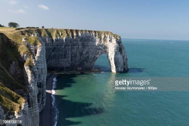 Scenic view of sea cliffs, Bretagne, France