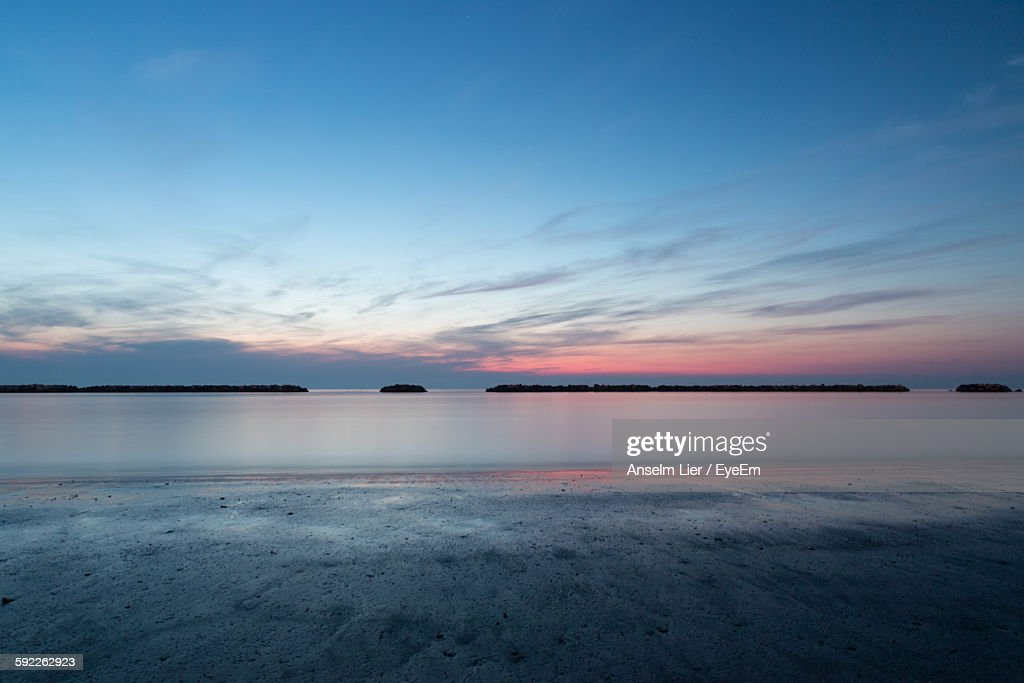 Scenic View Of Sea During Sunrise : Stock Photo