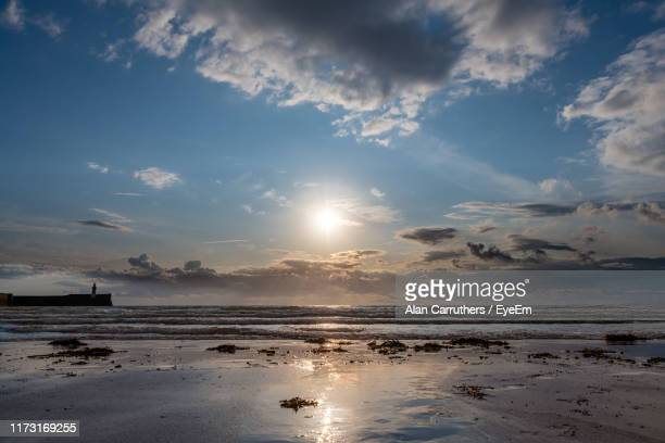 scenic view of sea during sunset - whitehaven cumbria stock pictures, royalty-free photos & images