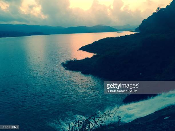 scenic view of sea during sunset - nazar stock photos and pictures
